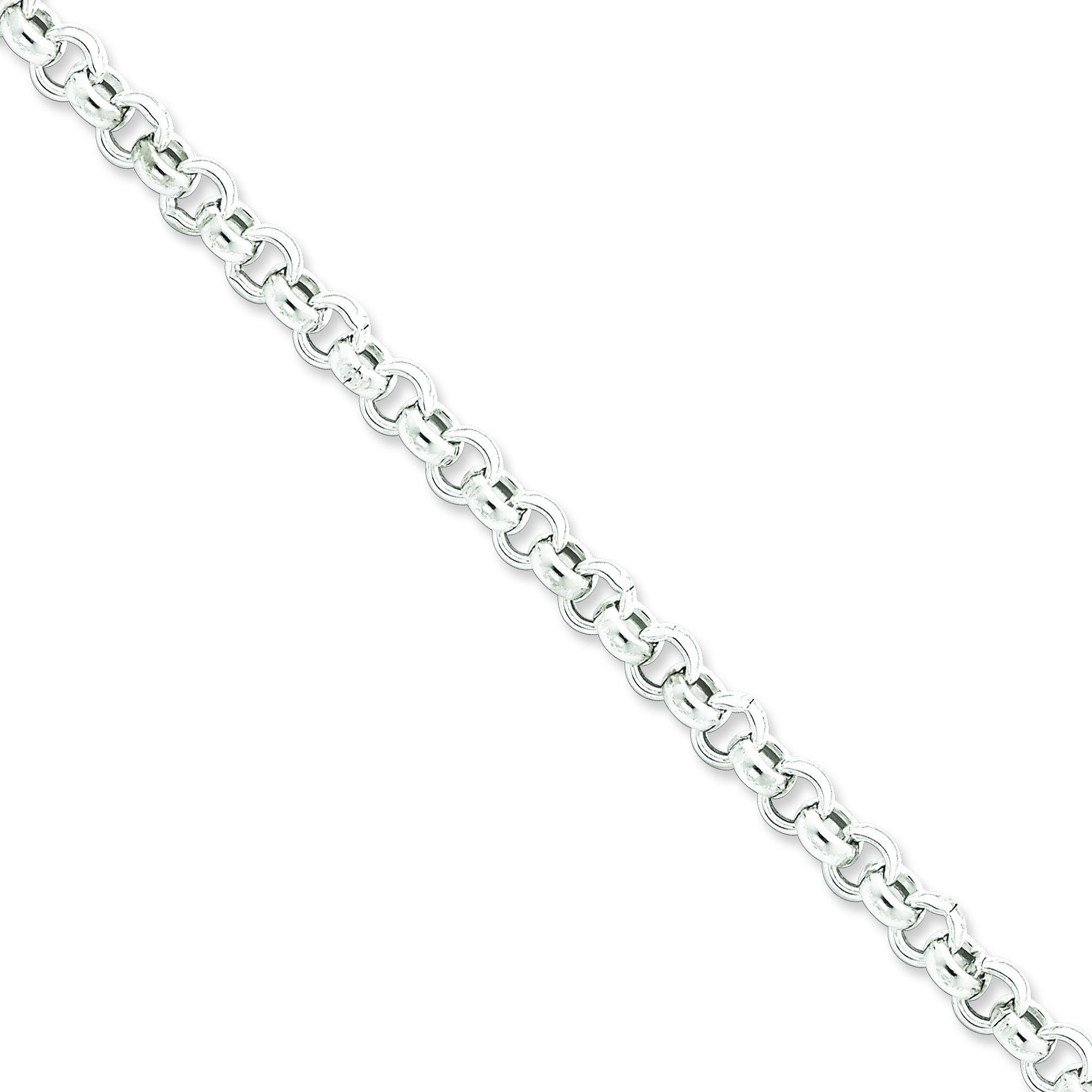 Sterling Silver 7 inch 6.50 mm  Rolo Chain Bracelet