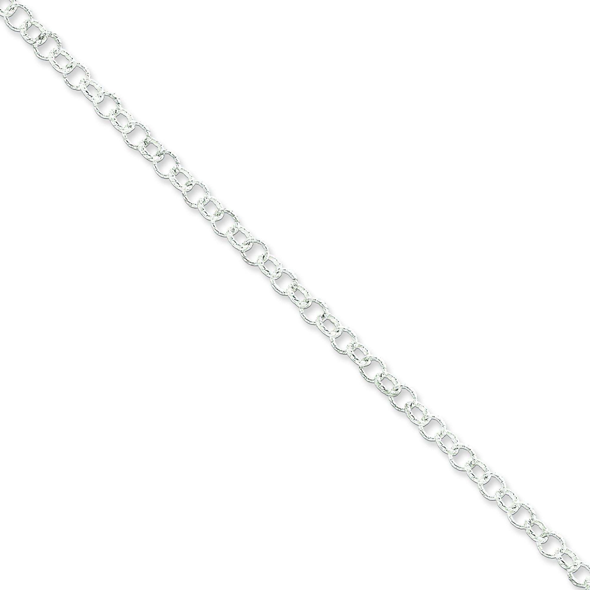 Sterling Silver 8 inch 4.75 mm Fancy Patterned Rolo Chain Bracelet