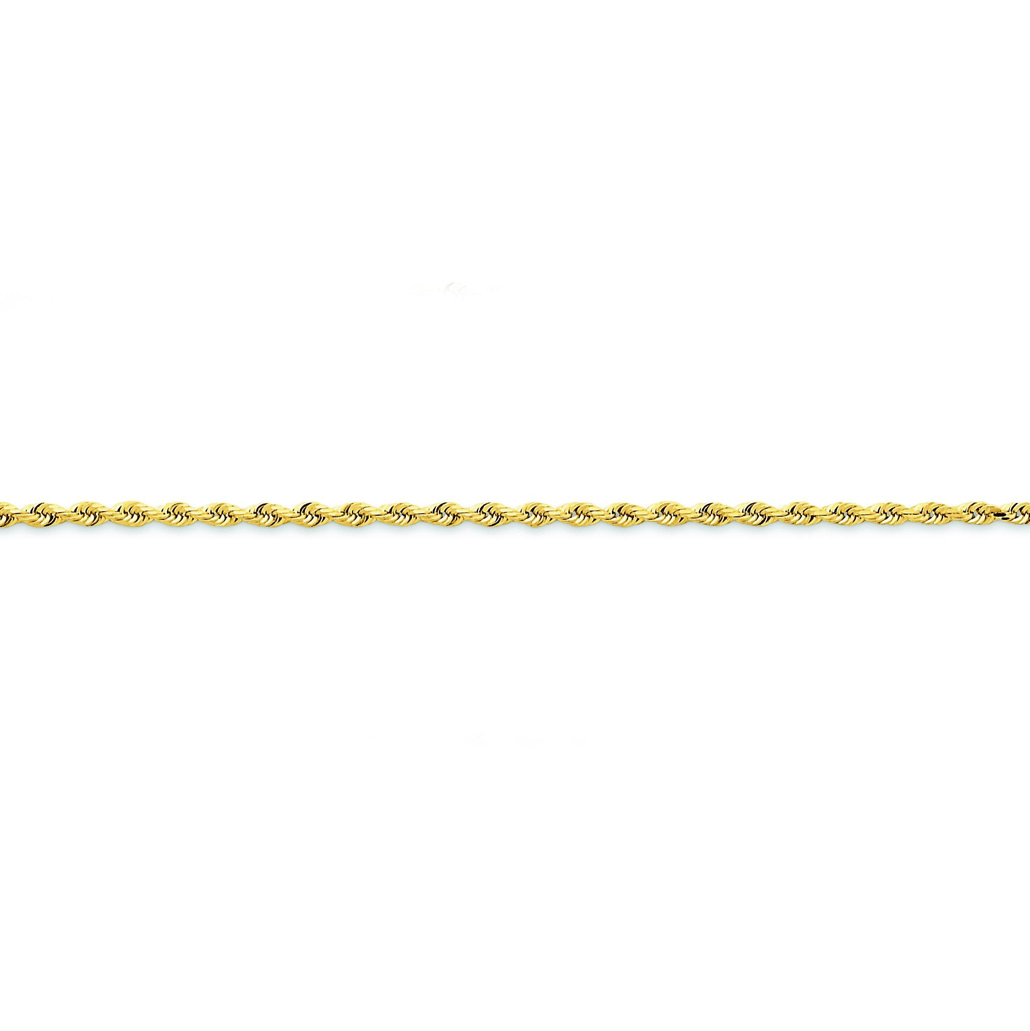 14k Yellow Gold 7 inch 2.25 mm Diamond-cut Quadruple Rope Chain Bracelet