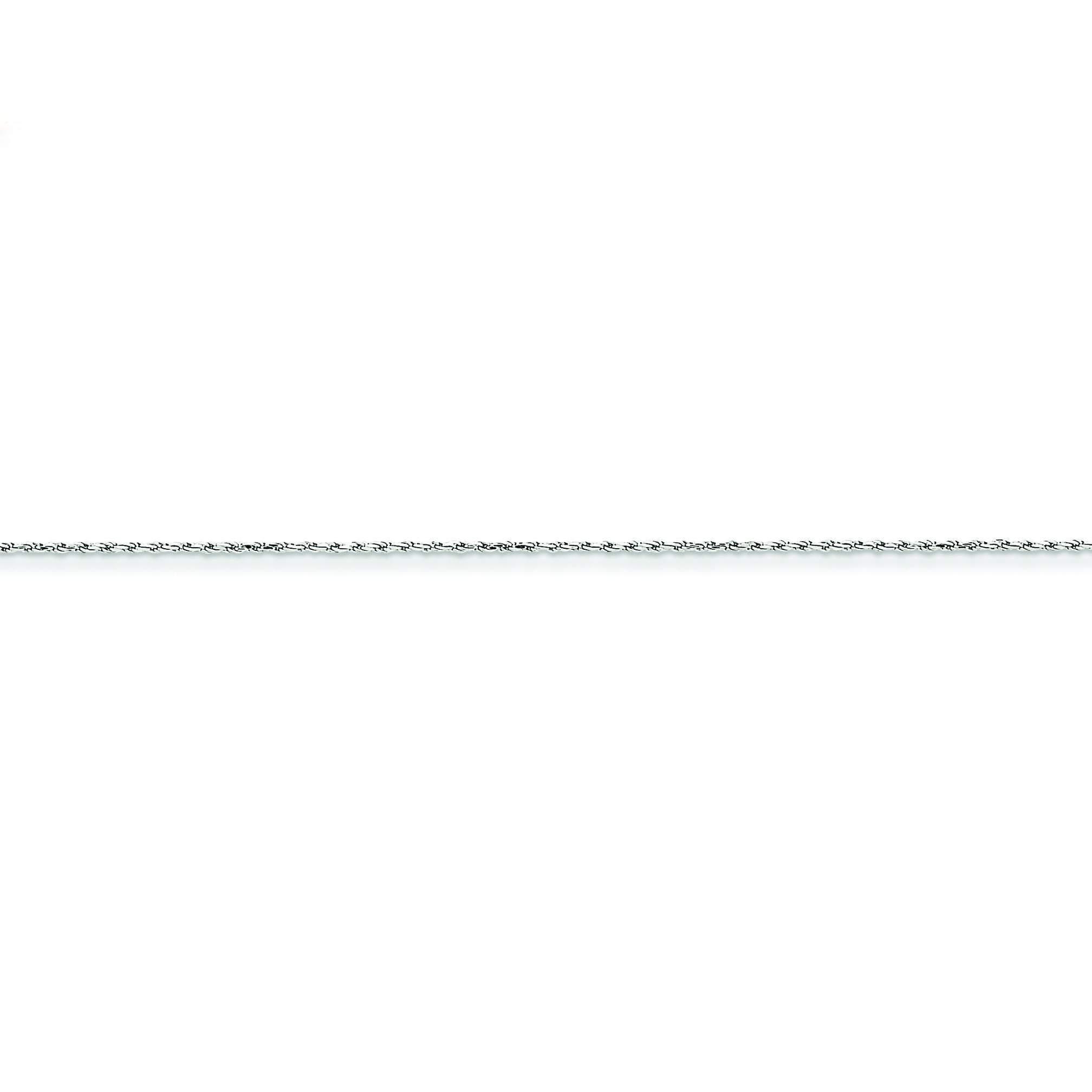 14k White Gold 6 inch 1.00 mm Machine Made Diamond-cut Rope Chain Bracelet