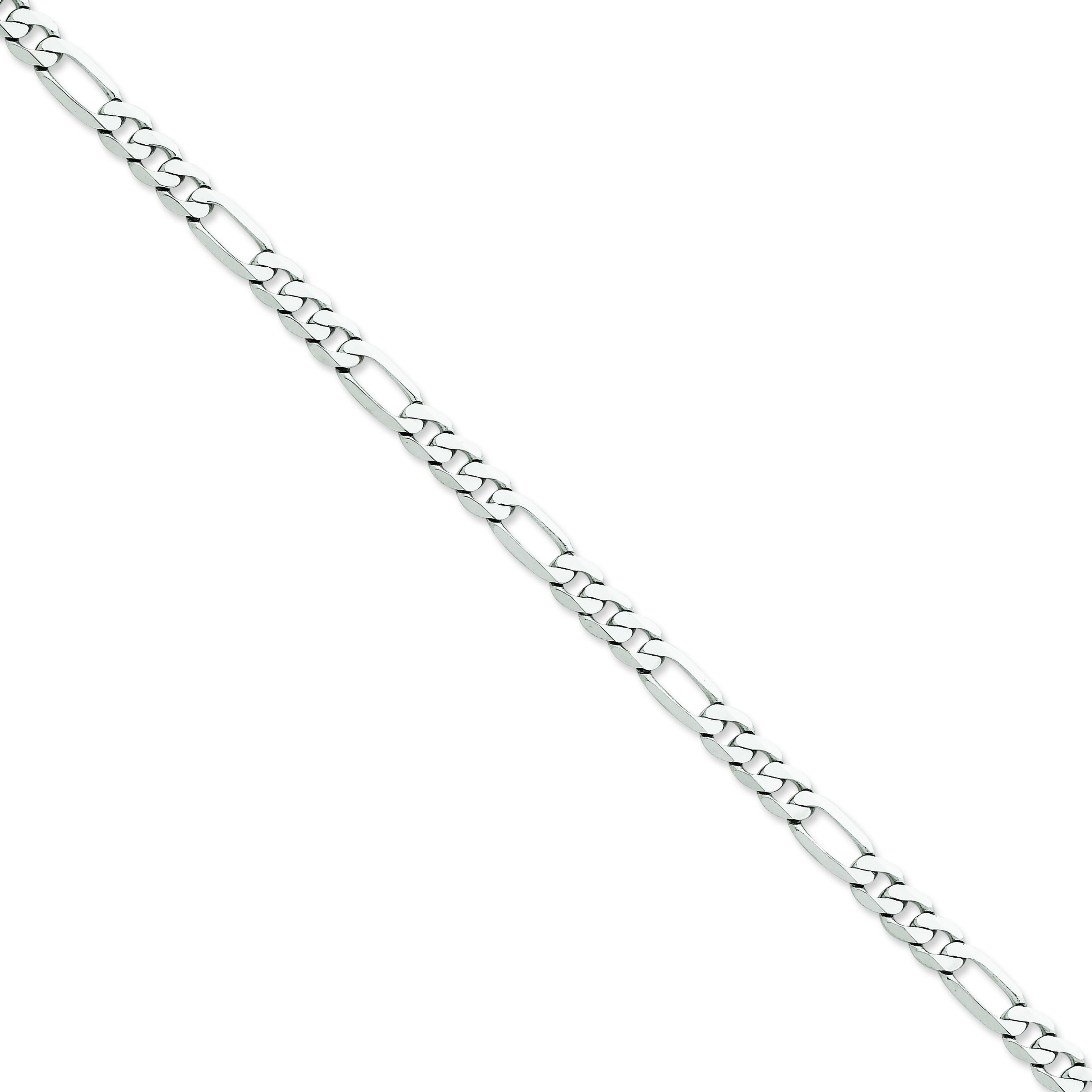 14k White Gold 7 inch 6.00 mm  Figaro Chain Bracelet