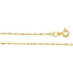 14k Yellow Gold 7 inch 1.25 mm Diamond-cut Bead Chain Bracelet