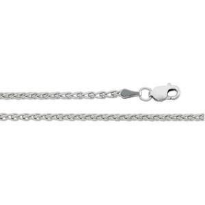 14k White Gold 7 inch 2.40 mm Wheat Chain Bracelet
