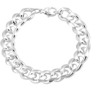 Sterling Silver 8 inch 12.30 mm  Curb Chain Bracelet