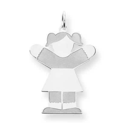 Diamond Cut Kid Charm in Sterling Silver