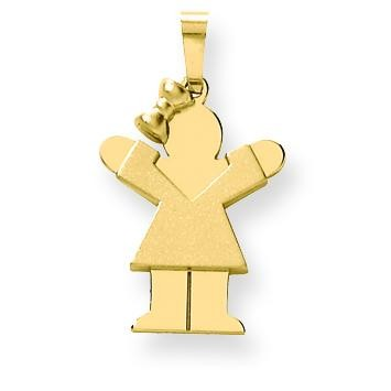Solid Engraveable Girl with Bow On Left Charm in 14k Yellow Gold