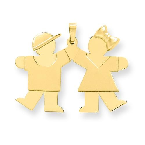 Solid Engraveable Boy On Left Girl On Right Charm in 14k Yellow Gold