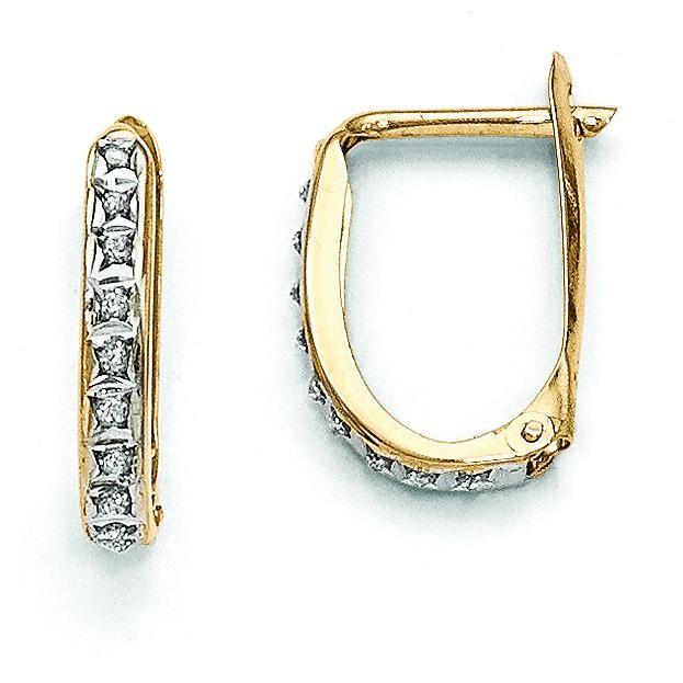 Diamond Fascination Leverback Hinged Hoop Earrings in 14k Yellow Gold (0.01 Ct. tw.)