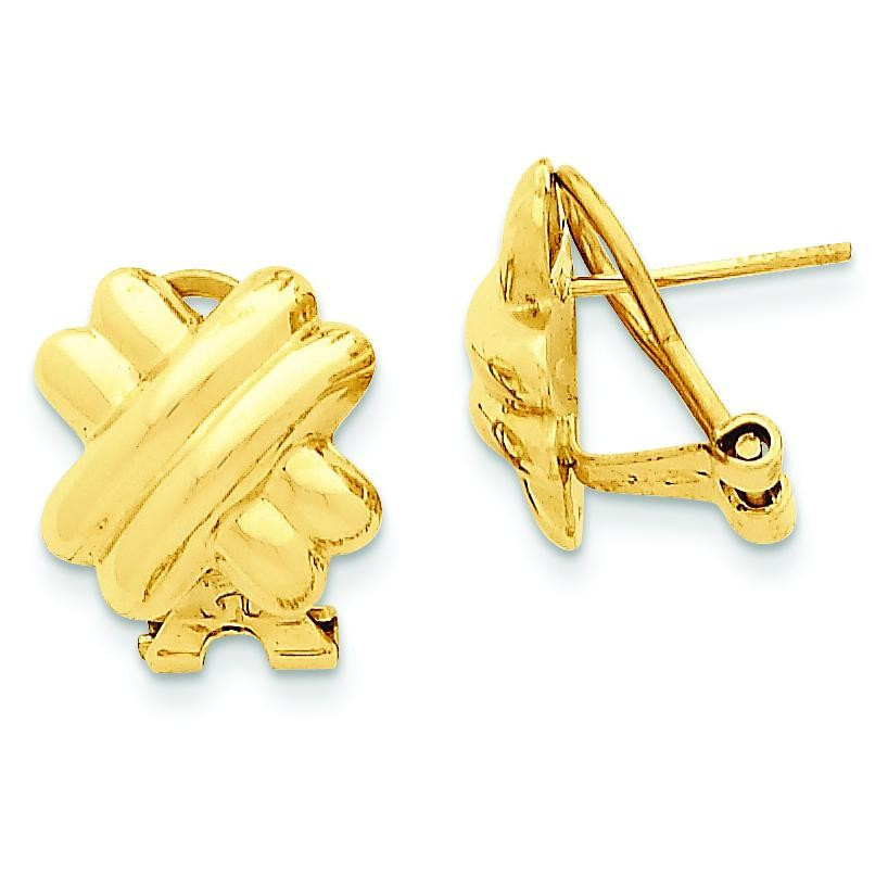 X Omega Back Post Earrings in 14k Yellow Gold