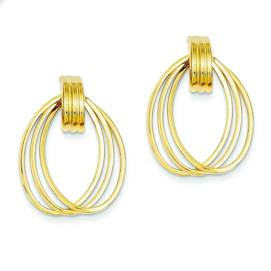 Triple Circle Fancy Post Earrings in 14k Yellow Gold
