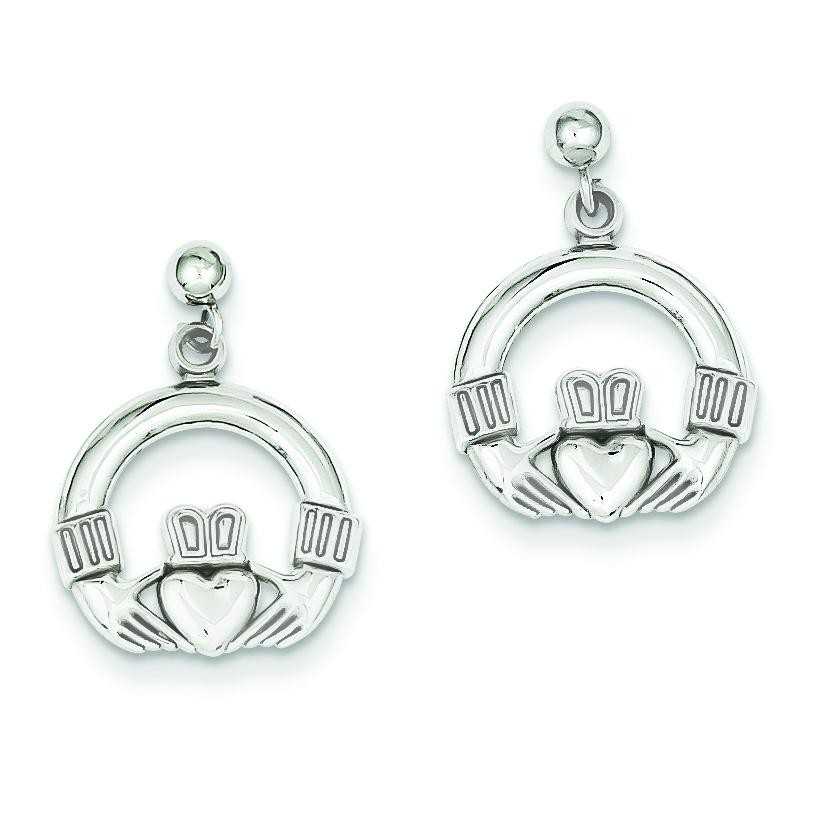 Solid Flat backed Claddagh Earrings in 14k White Gold