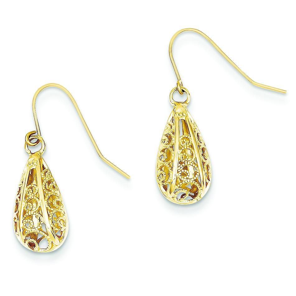 Diamond Cut Teardrop Dangle Wire Earrings in 14k Yellow Gold