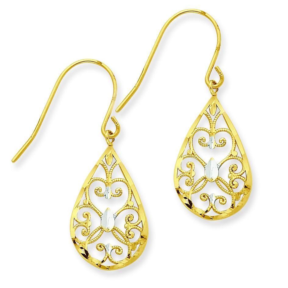 Rhodium Diamond Cut Teardrop Filigree Dangle Earrings in 14k Yellow Gold