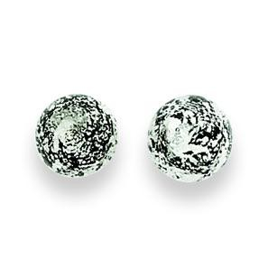 Black Silver Color Murano Glass Earrings in Sterling Silver