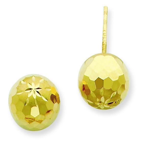 Diamond Cut Mirror Ball Post Earrings in 14k Yellow Gold