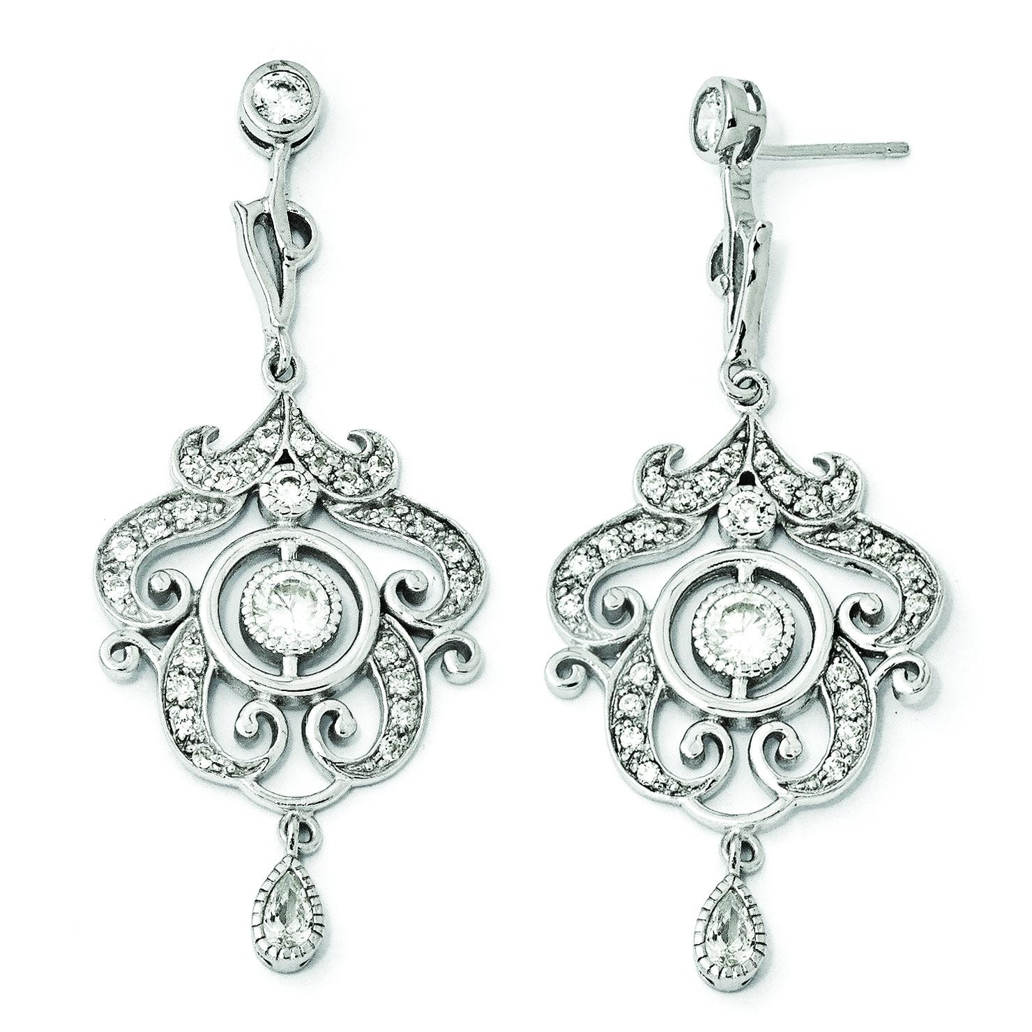 CZ Chandelier Dangle Post Earrings in Sterling Silver