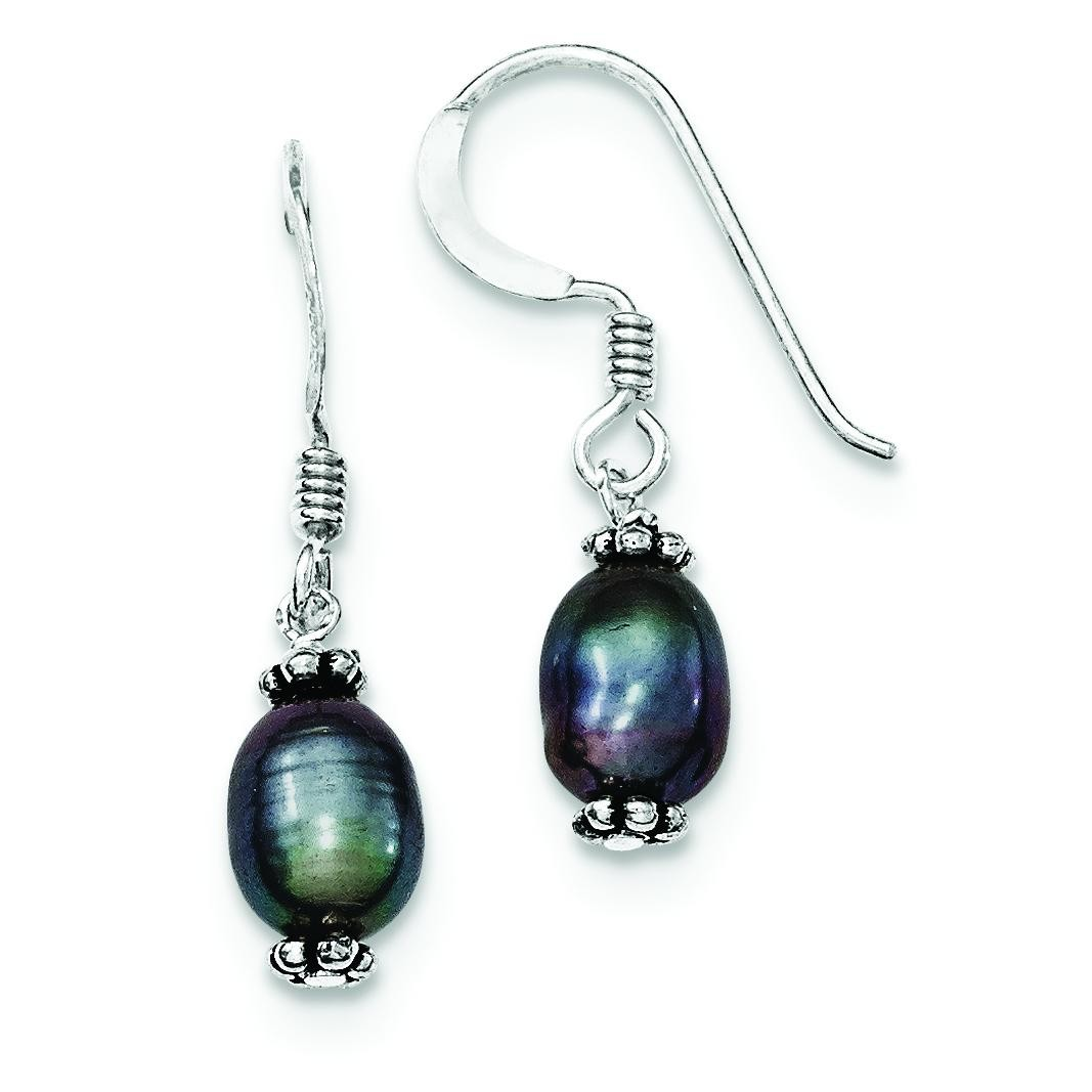 Black Cultured Pearl Dangle Earrings in Sterling Silver