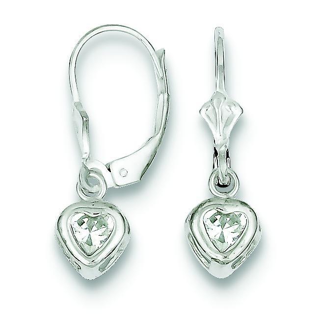 Heart CZ Leverback Earrings in Sterling Silver