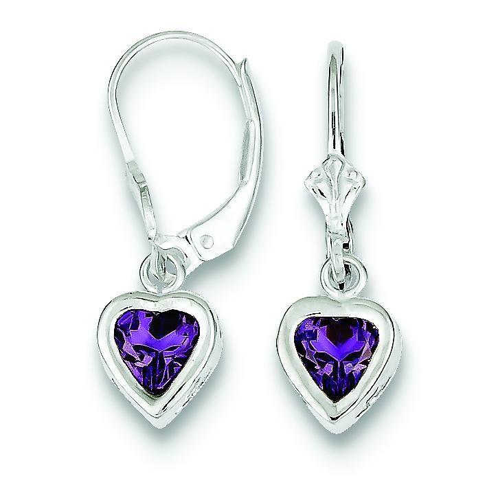 Heart Amethyst Leverback Earrings in Sterling Silver