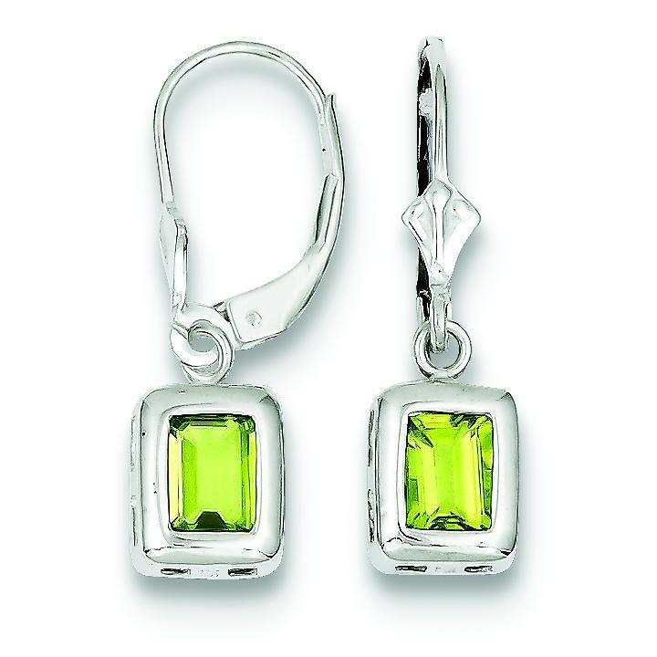 Emerald Cut Peridot Leverback Earrings in Sterling Silver