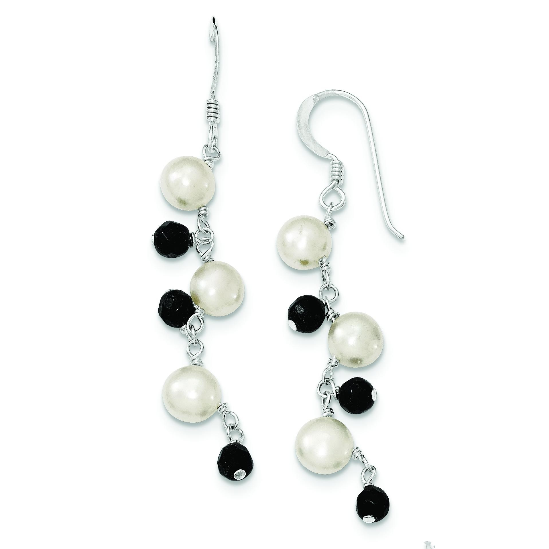 Freshwater Cultured White Button Pearl Crystal Earrings in Sterling Silver