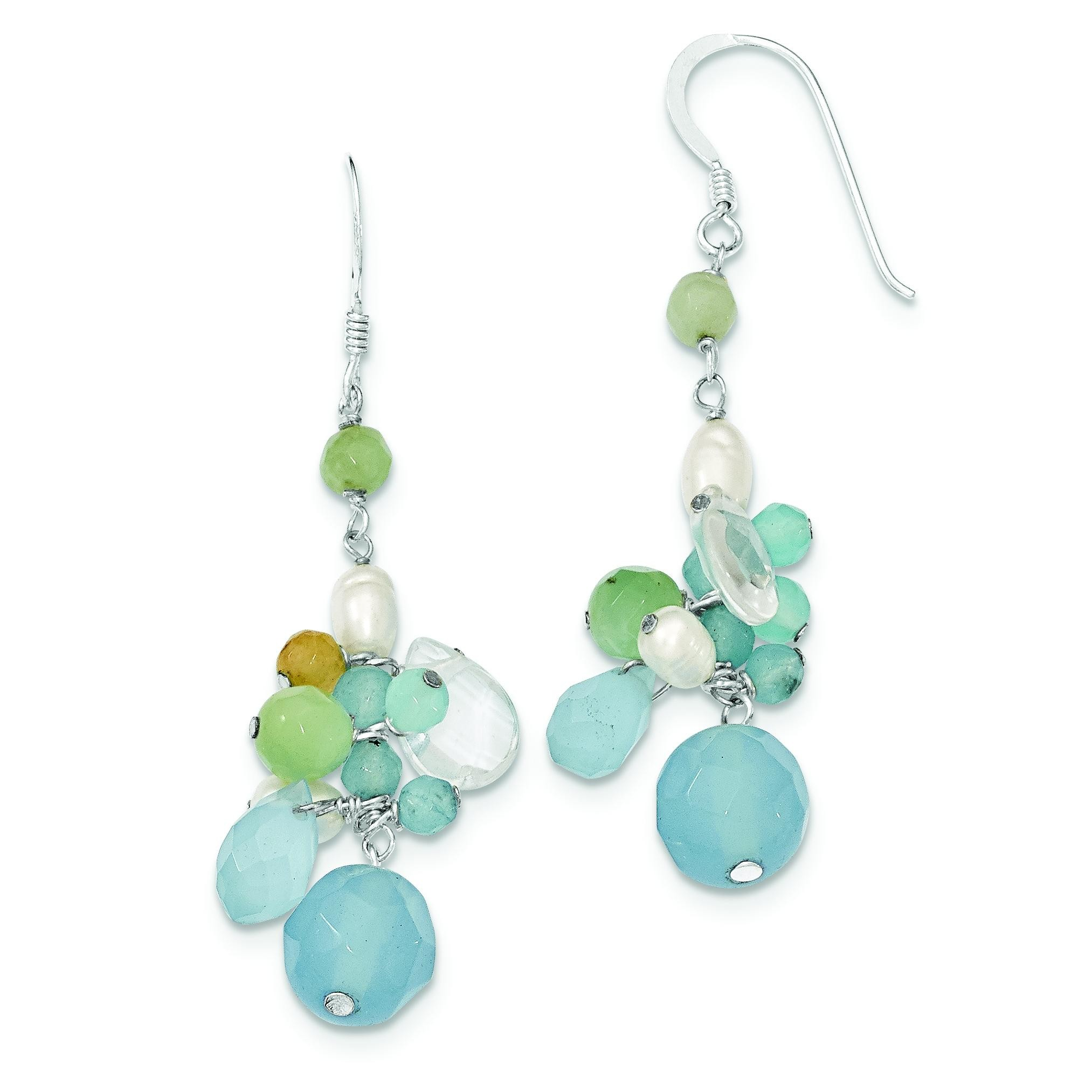 Blue Lace Agate Opalite Amazonite Cultured Pearl Earrings in Sterling Silver