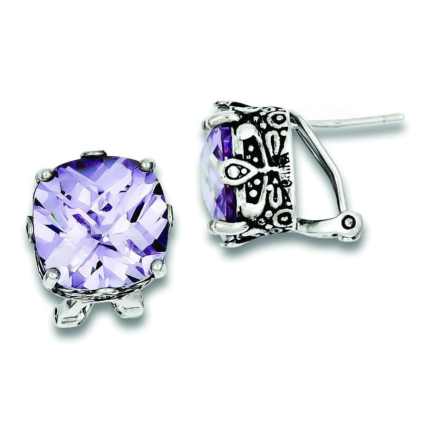 Lavender CZ Antiqued Earrings in Sterling Silver