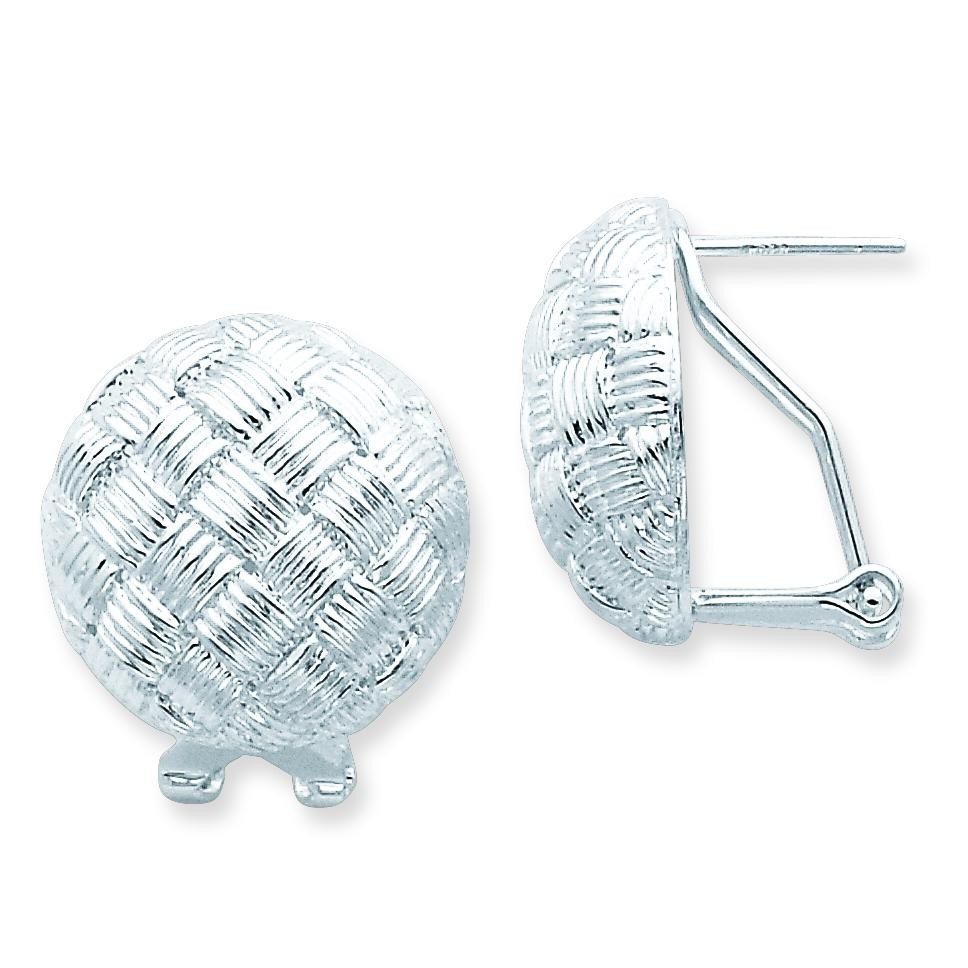 Round Fancy Omega Back Earrings in Sterling Silver