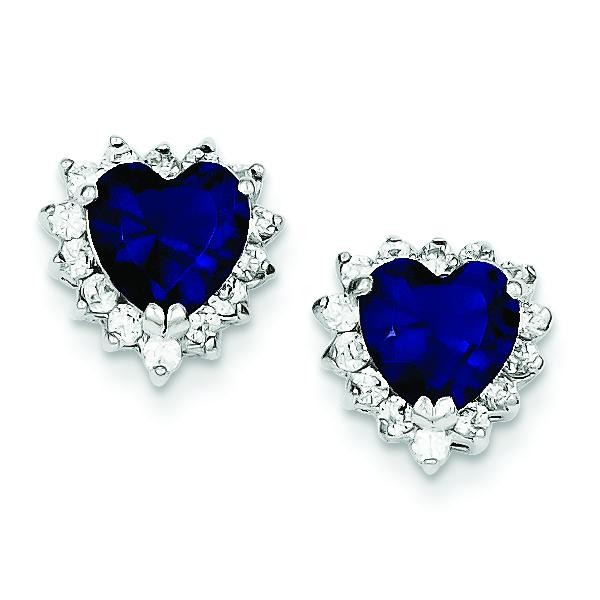 Dark Blue And Clear CZ Heart Earrings in Sterling Silver