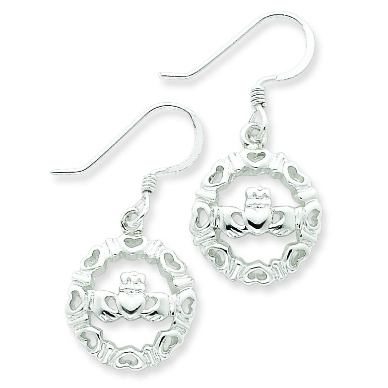 Claddagh Wire Earrings in Sterling Silver