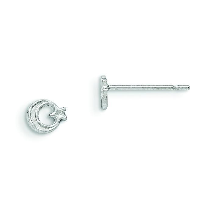 Star Moon Mini Earrings in Sterling Silver