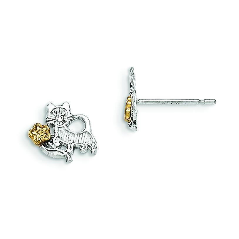 Vermeil Cat Flowers Mini Earrings in Sterling Silver