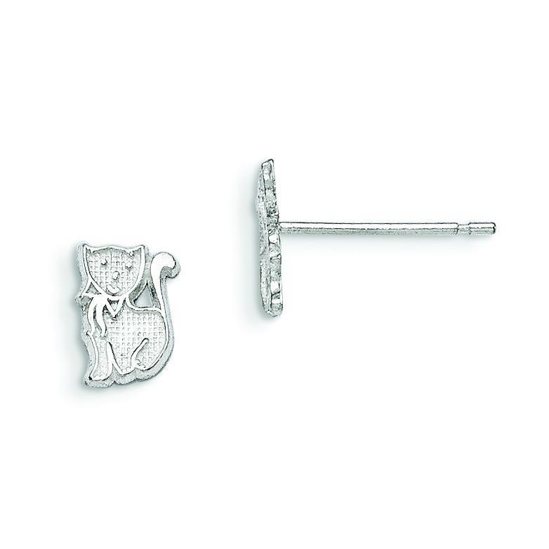 Cat Mini Earrings in Sterling Silver