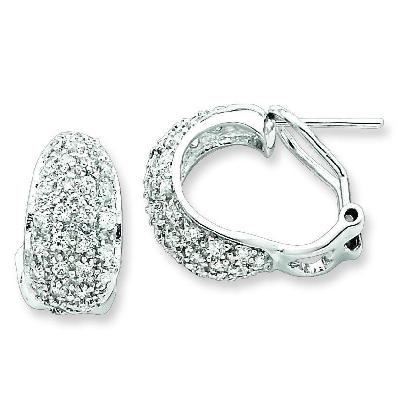 CZ Omega Back Earrings in Sterling Silver