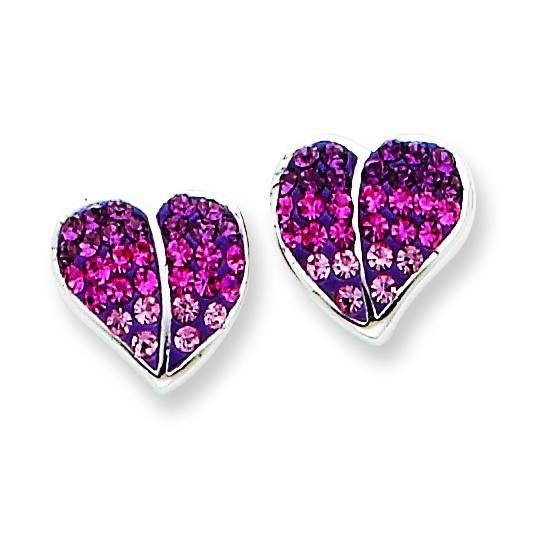 CZ Ferido Style Heart Post Earrings in Sterling Silver