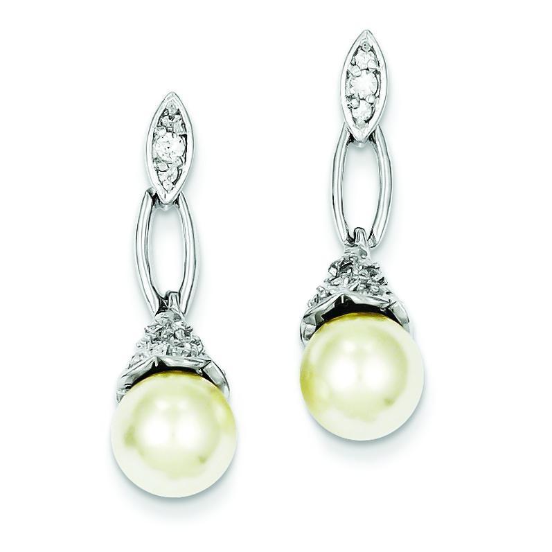 Synthetic Pearl CZ Post Earrings in Sterling Silver