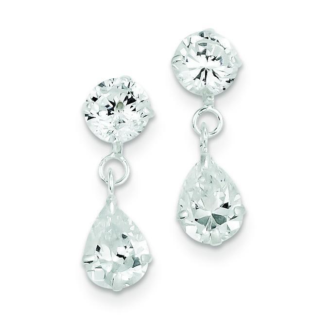 Clear CZ Dangle Earrings in Sterling Silver
