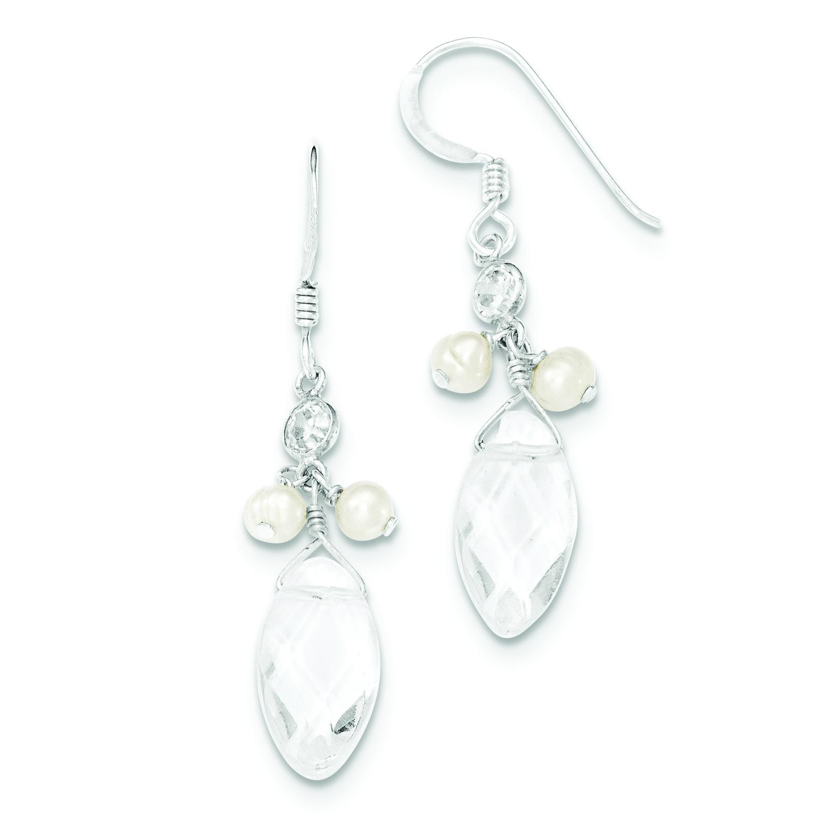 Freshwater Cultured Pearl Rock Quartz CZ Earrings in Sterling Silver