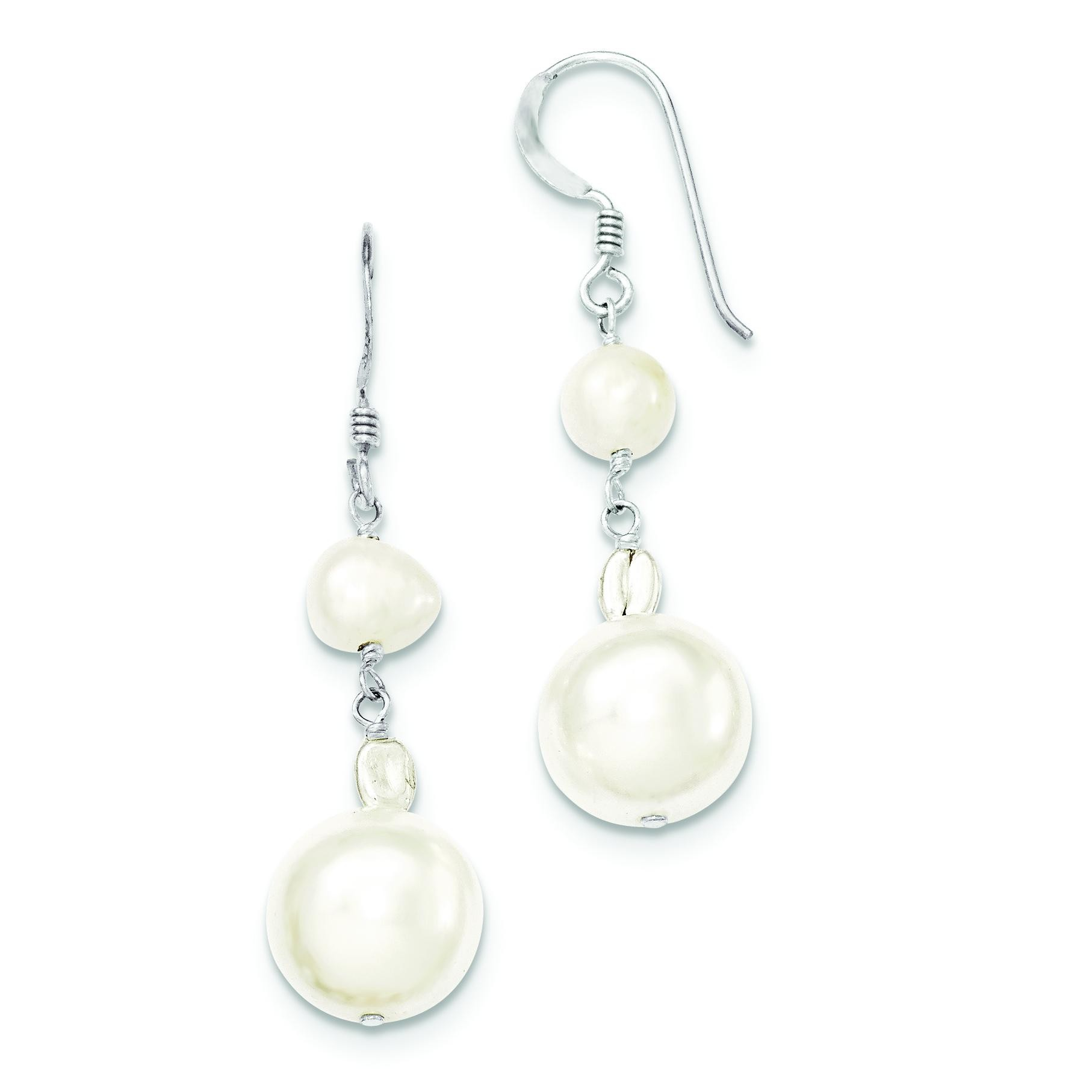 Freshwater Cultured White Simulated Pearl Earrings in Sterling Silver