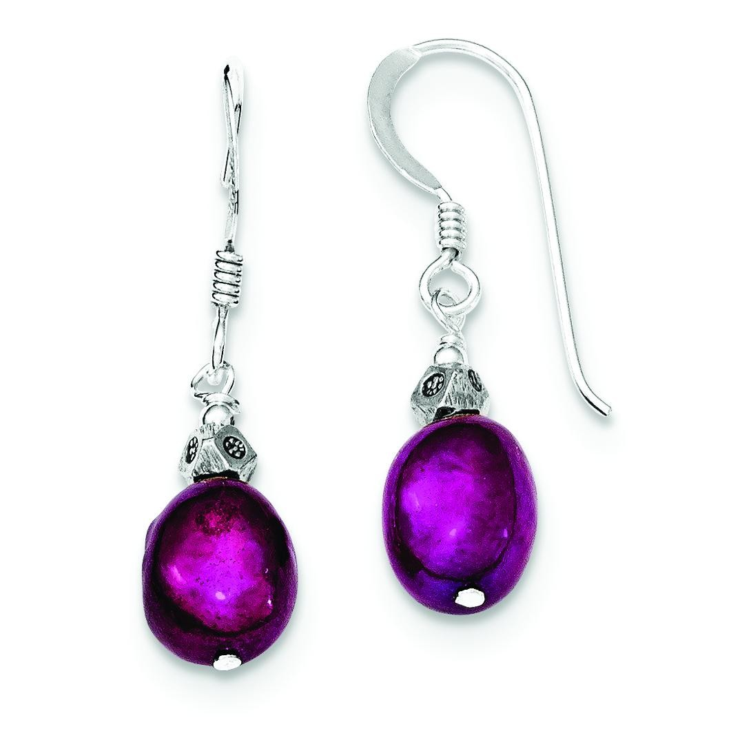 Magenta Cultured Pearl Earrings in Sterling Silver