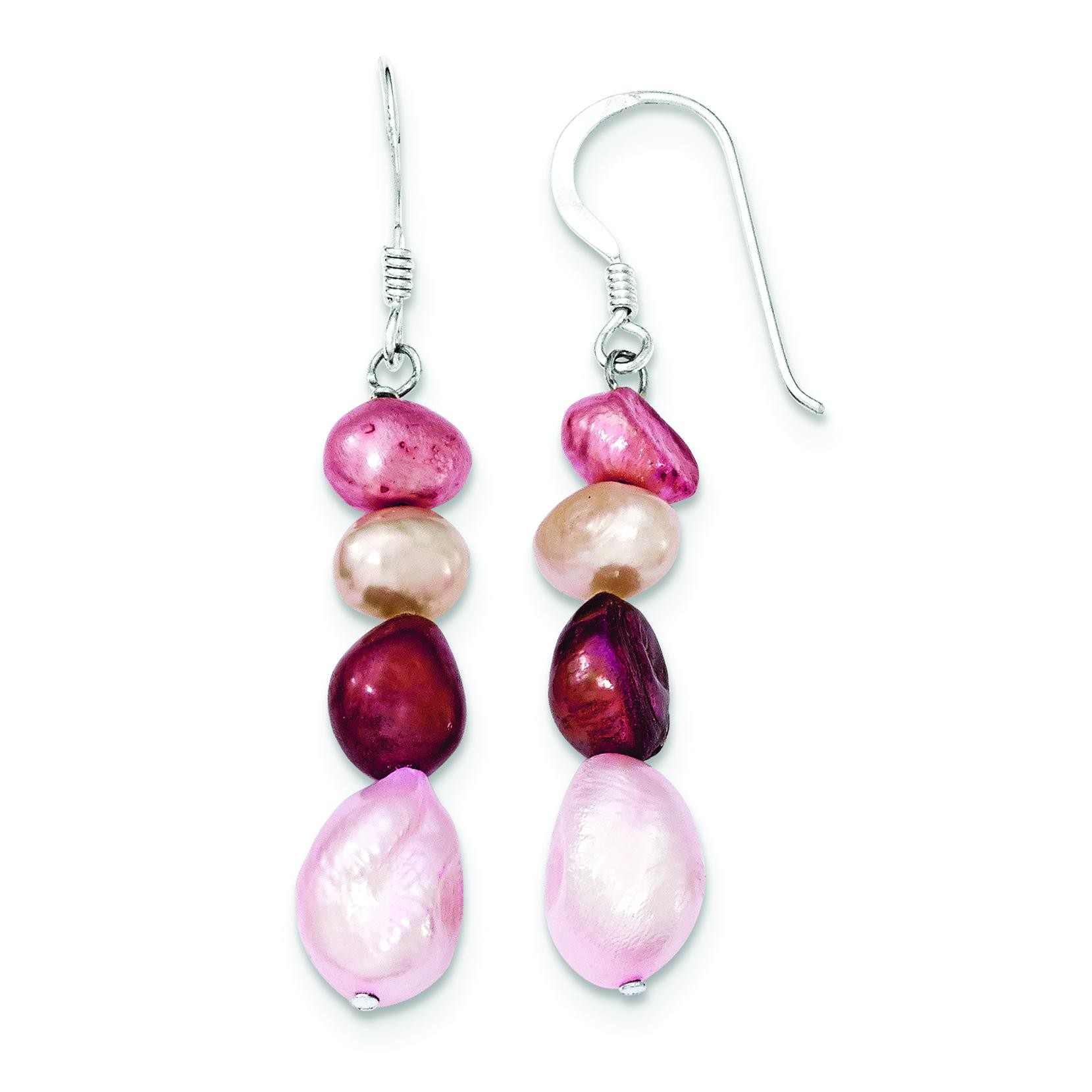 Freshwater Cultured Pearl Multicolor Earrings in Sterling Silver