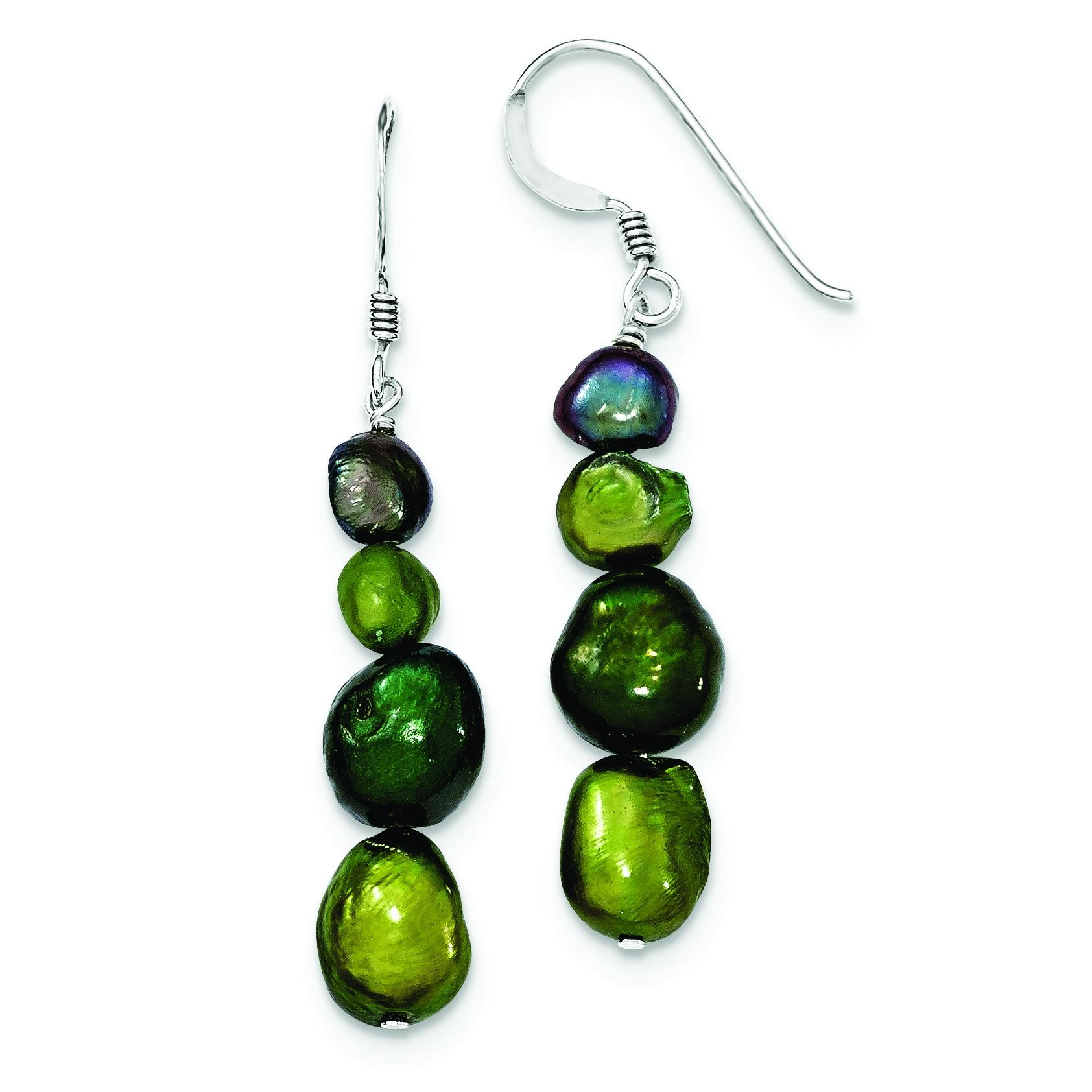 Dark Green Dark Purple Green Olivine Cultured Pearl Earrings in Sterling Silver