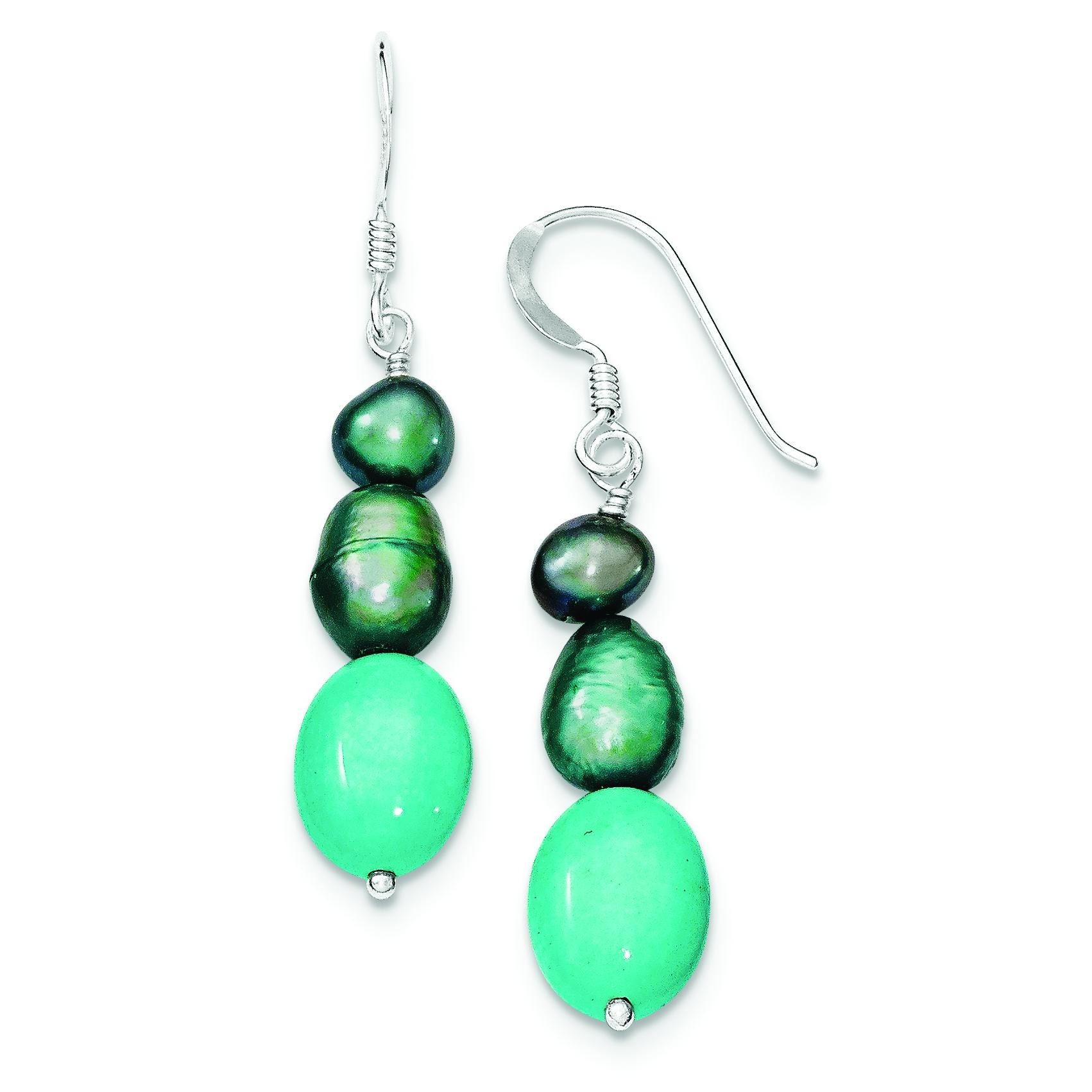 Green Turquoise Green Freshwater Cultured Pearl Earrings in Sterling Silver