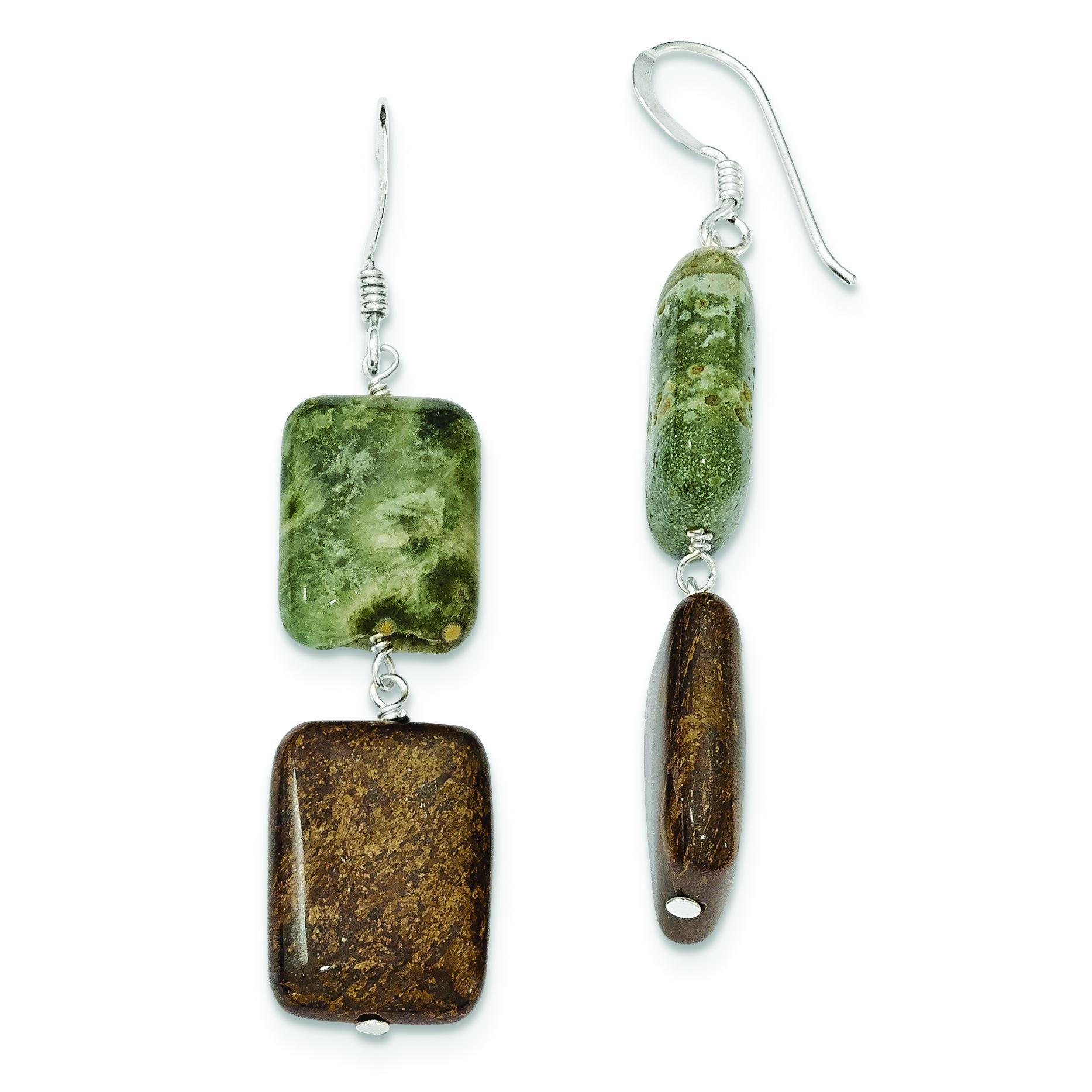 Sea Agate Bronzite Earrings in Sterling Silver
