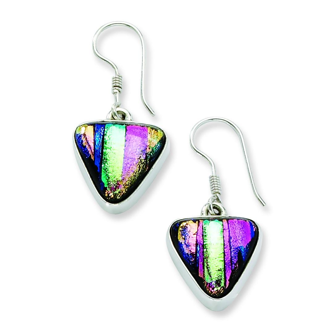 Multicolor Dichroic Glass Triangle Shaped Dangle Earrings in Sterling Silver