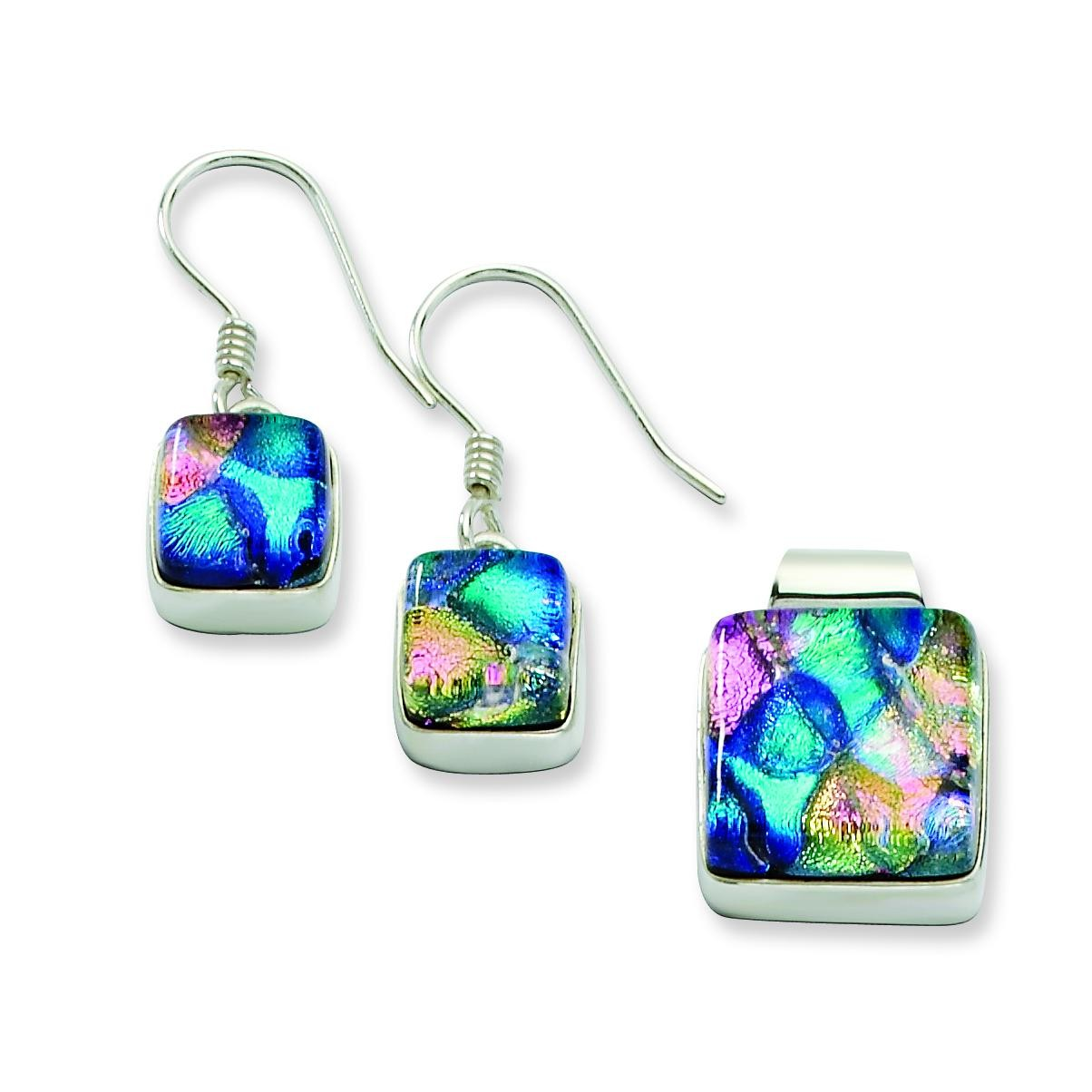 Pink Blue Dichroic Glass Square Earrings Pendant Set in Sterling Silver