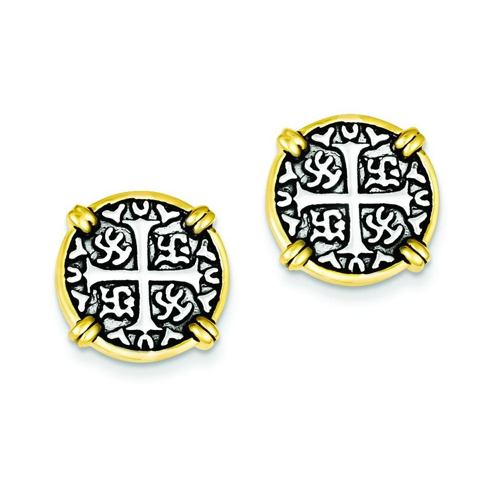 Vermeil Chinese Symbol Post Earrings in Sterling Silver