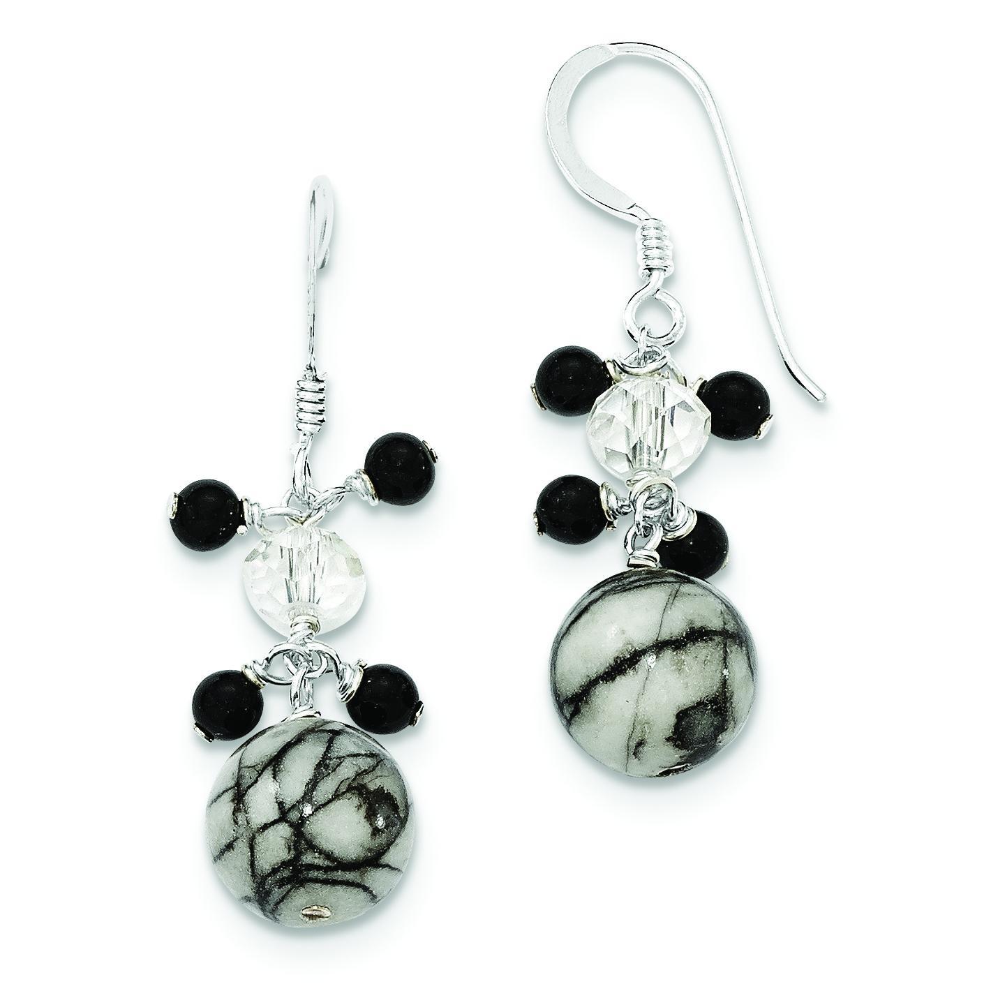 Crystal Onyx Zebra Jasper Earrings in Sterling Silver