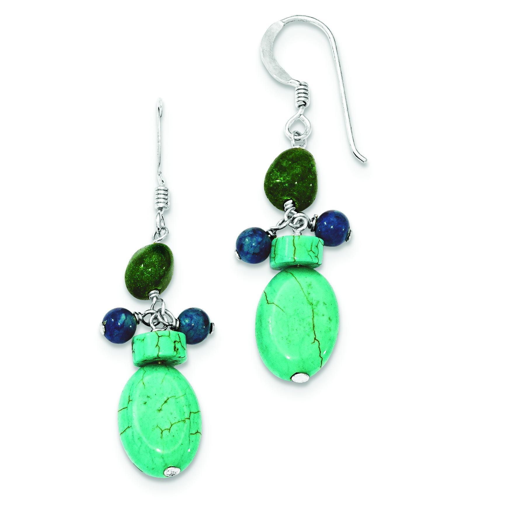 Aventurine Dyed Howlite Turquoise Blue Jade Earrings in Sterling Silver