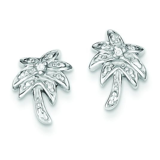 CZ Palm Tree Post Earrings in Sterling Silver